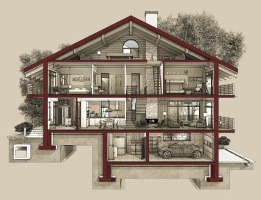 house cross section drawing