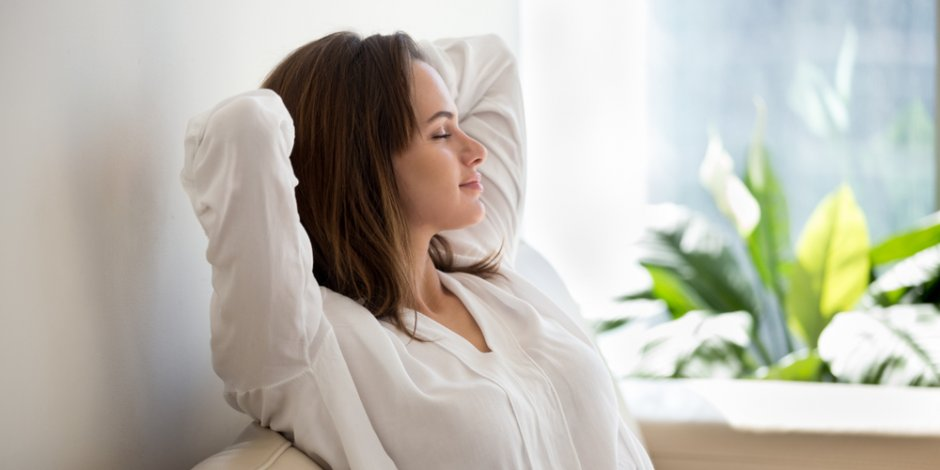 woman relaxed at home