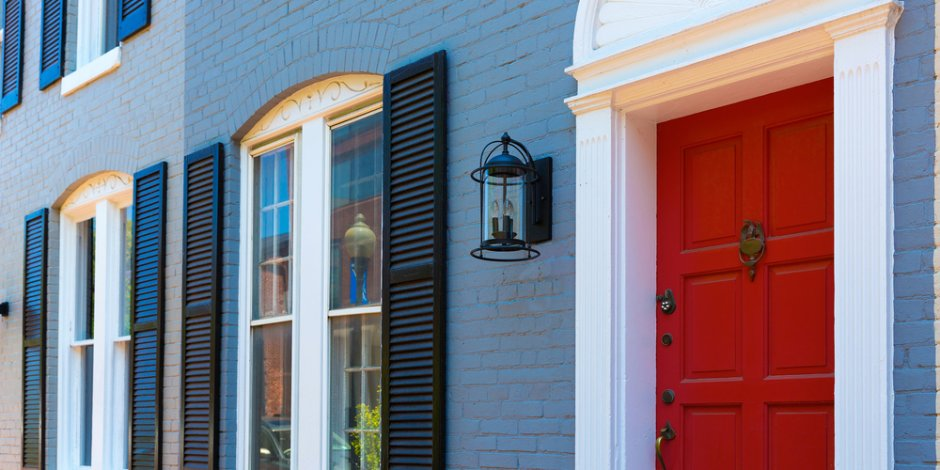 DC row house front exterior