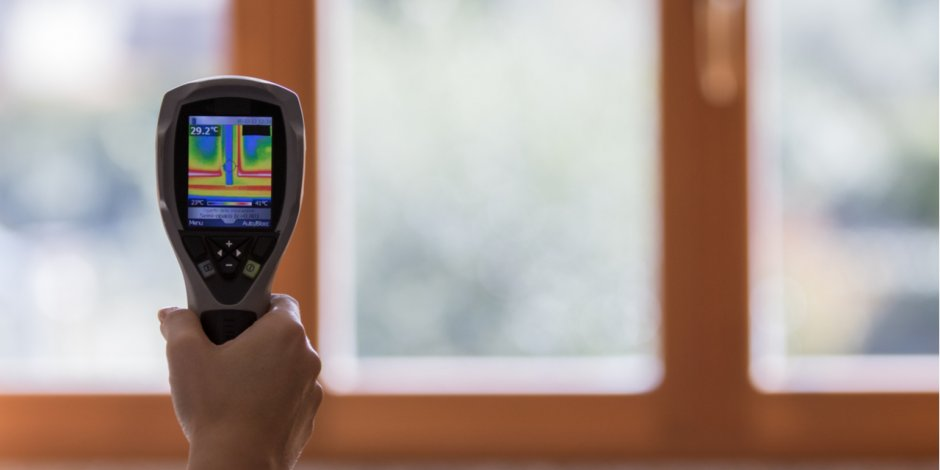 Thermal reading of heat loss around a door, Home Energy Medics, Northern VA, and DC