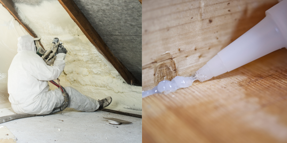 collage of man foam insulating attic on left and individual caulking on the right